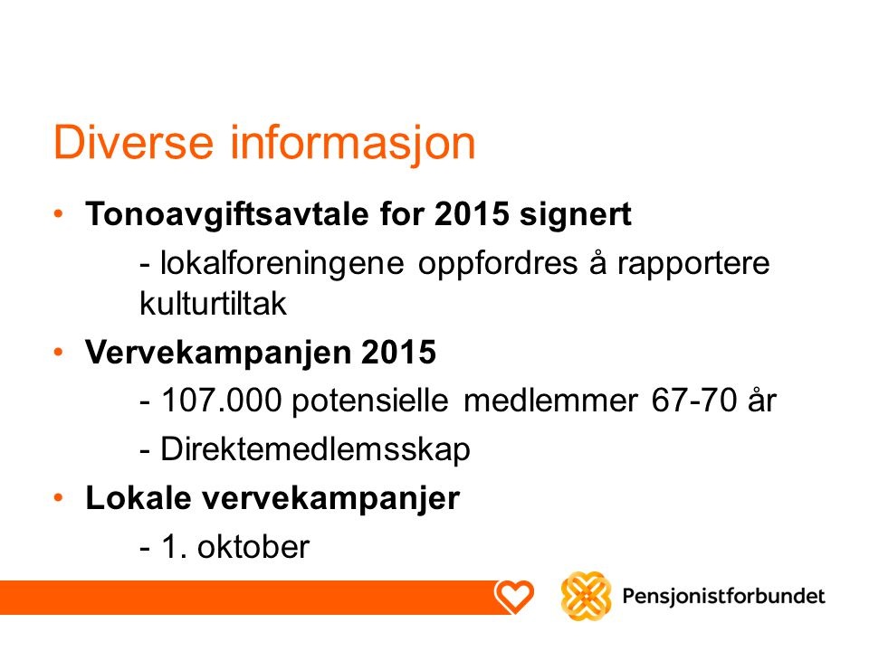 Diverse informasjon Tonoavgiftsavtale for 2015 signert