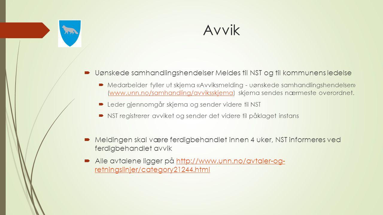 Avvik Uønskede samhandlingshendelser Meldes til NST og til kommunens ledelse.
