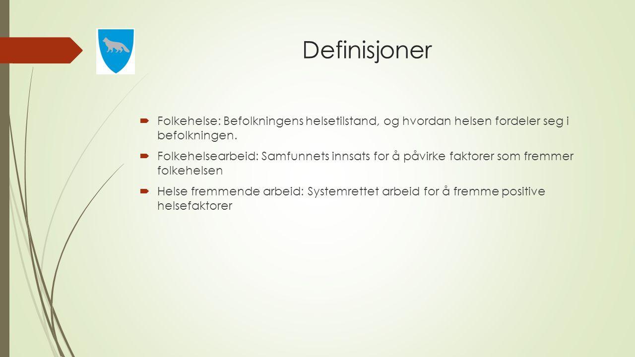 Definisjoner Folkehelse: Befolkningens helsetilstand, og hvordan helsen fordeler seg i befolkningen.