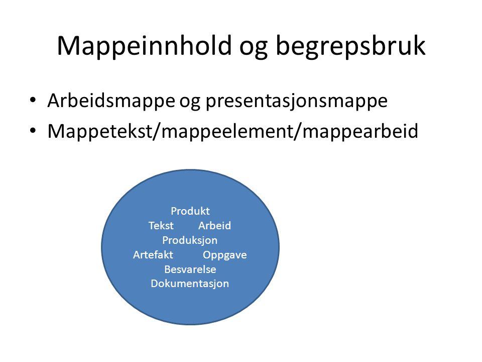 Mappeinnhold og begrepsbruk