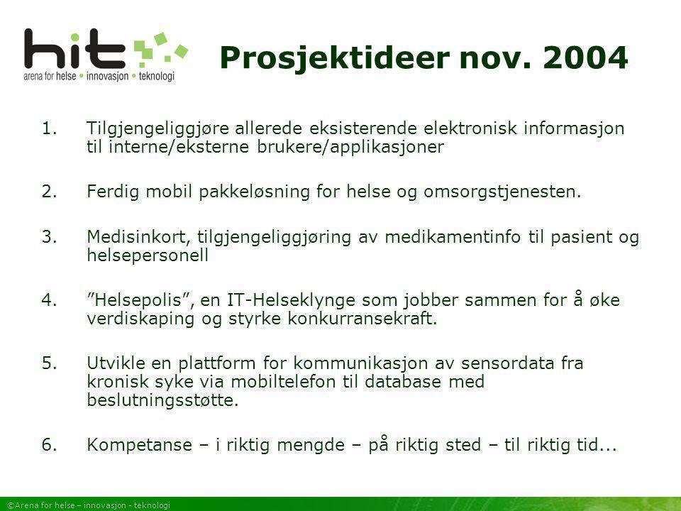 Prosjektideer nov. 2004 Tilgjengeliggjøre allerede eksisterende elektronisk informasjon til interne/eksterne brukere/applikasjoner.