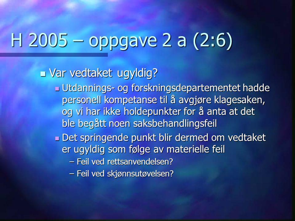 H 2005 – oppgave 2 a (2:6) Var vedtaket ugyldig