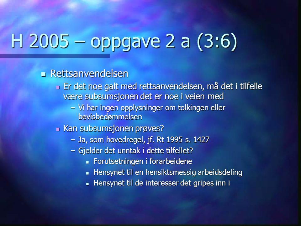 H 2005 – oppgave 2 a (3:6) Rettsanvendelsen