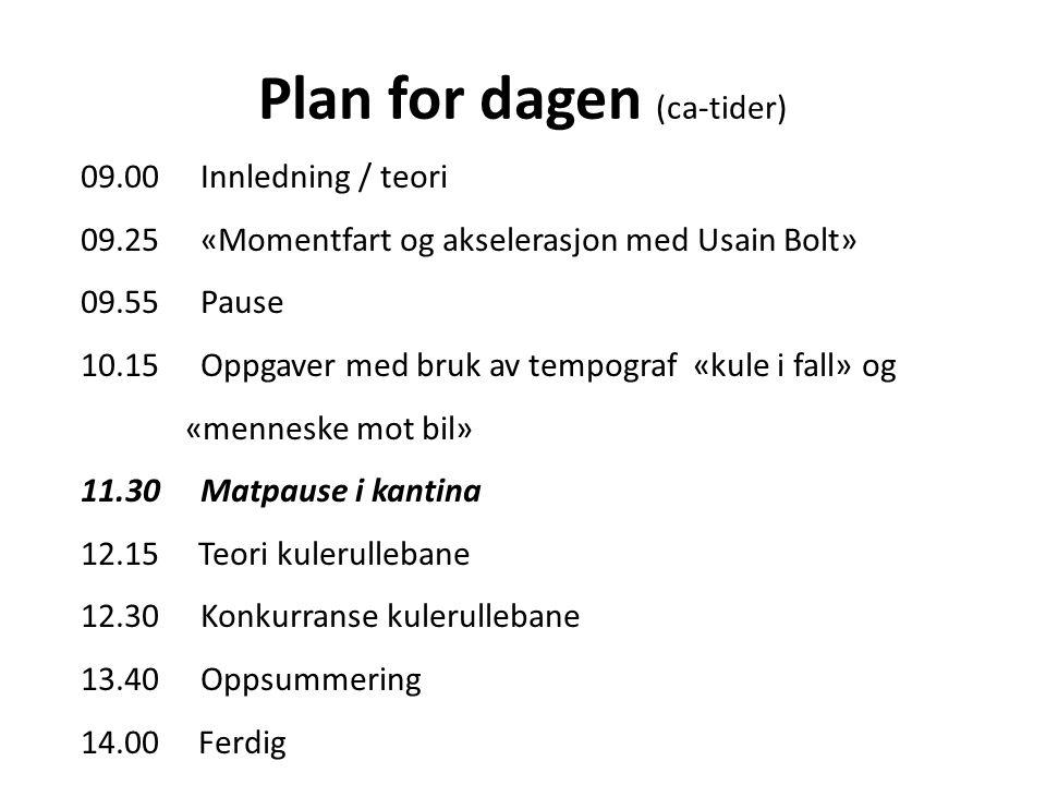 Plan for dagen (ca-tider)