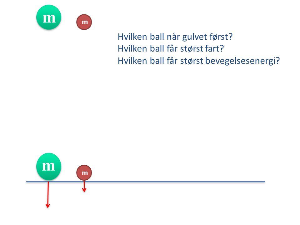 m m. Hvilken ball når gulvet først Hvilken ball får størst fart Hvilken ball får størst bevegelsesenergi