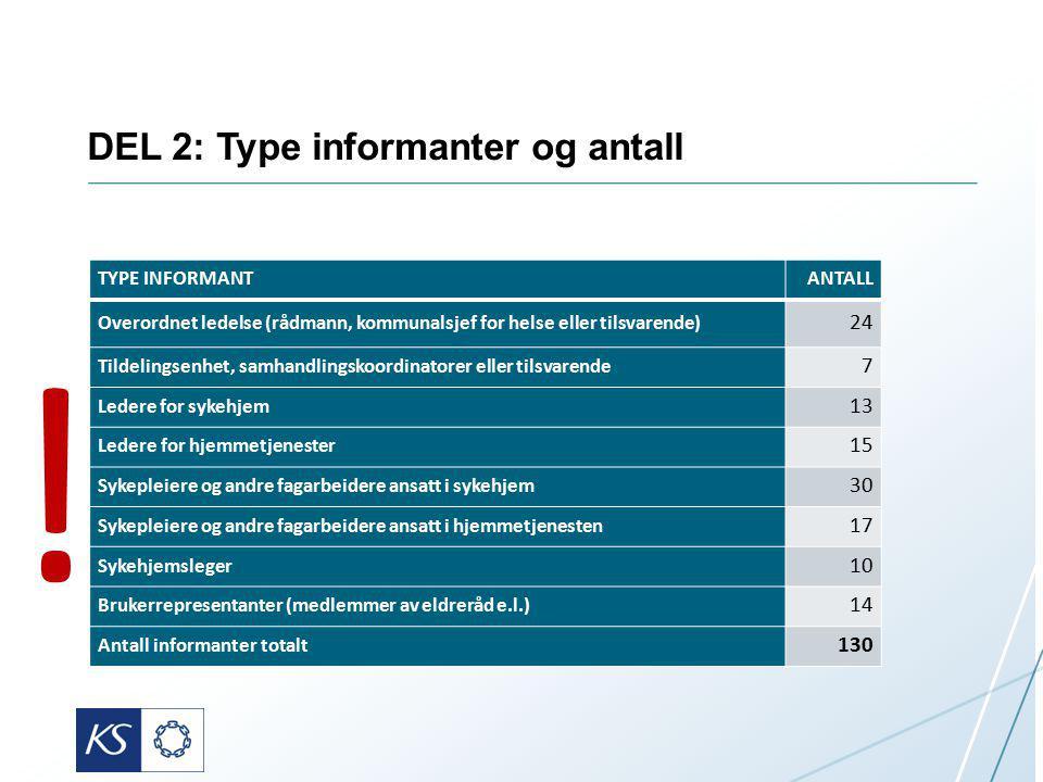 DEL 2: Type informanter og antall
