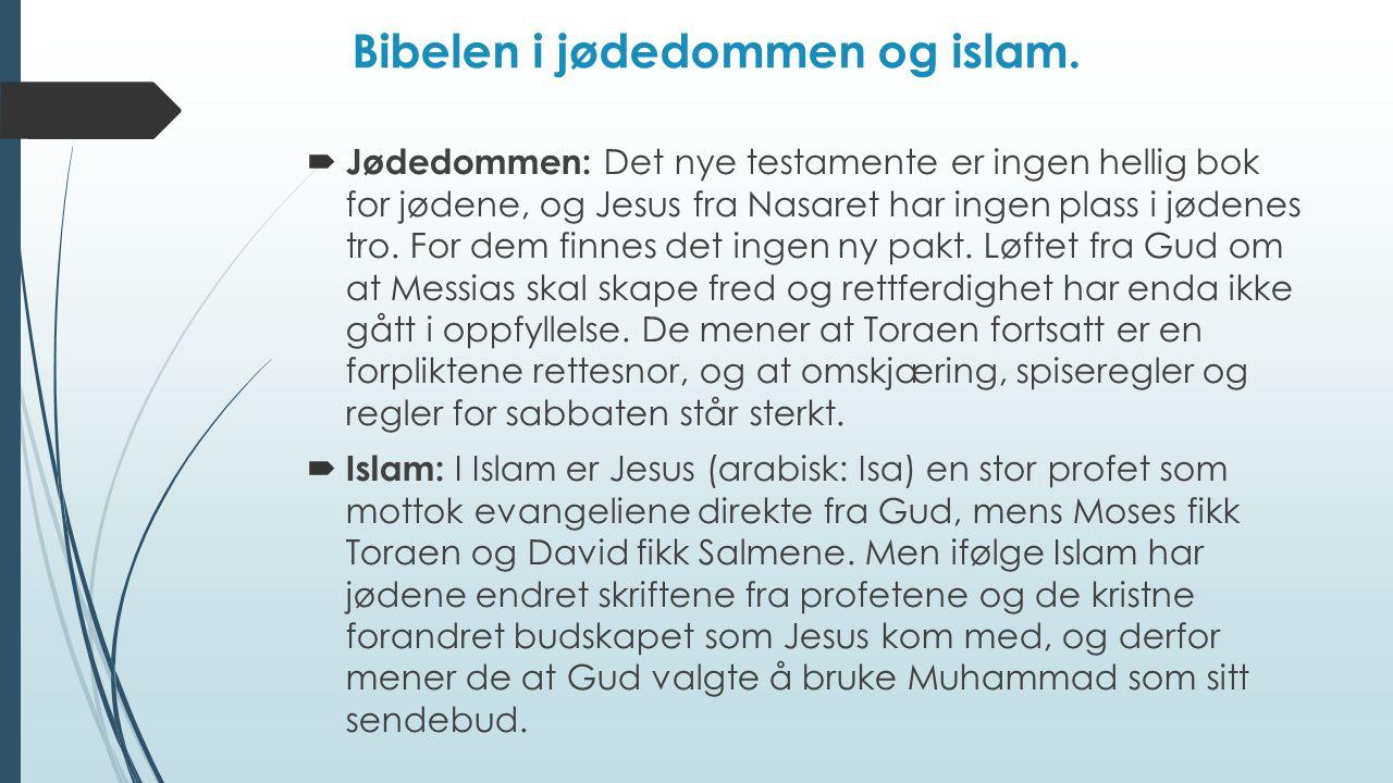 Bibelen i jødedommen og islam.