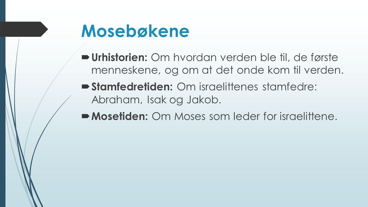 Mosebøkene Urhistorien: Om hvordan verden ble til, de første menneskene, og om at det onde kom til verden.