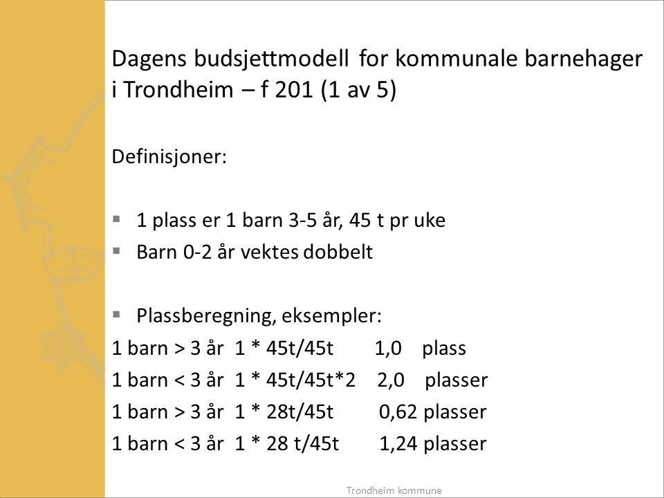 Dagens budsjettmodell for kommunale barnehager i Trondheim – f 201 (1 av 5)