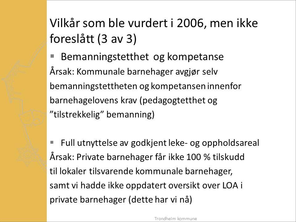 Vilkår som ble vurdert i 2006, men ikke foreslått (3 av 3)