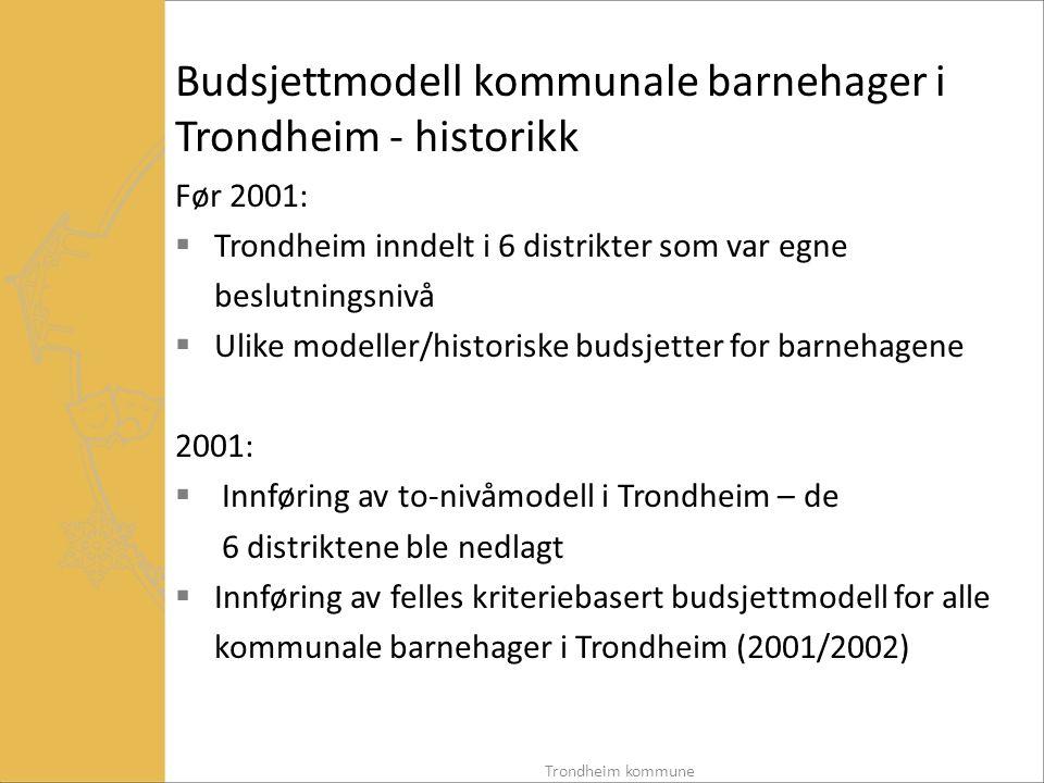 Budsjettmodell kommunale barnehager i Trondheim - historikk