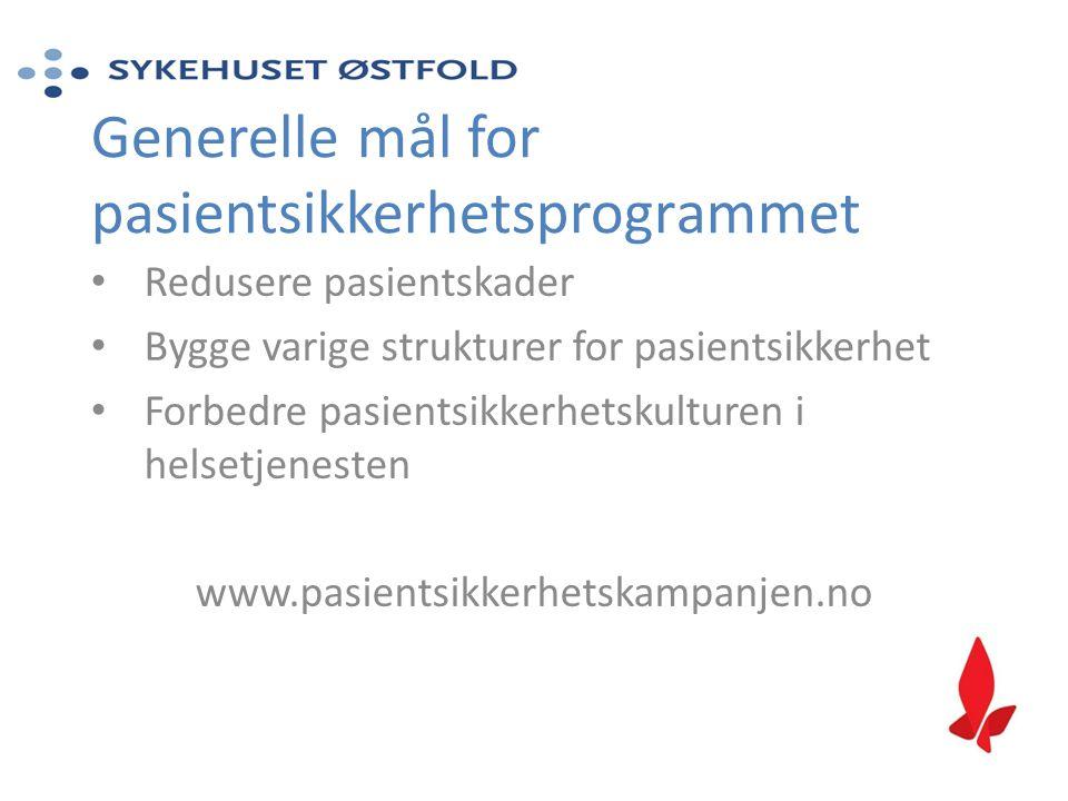Generelle mål for pasientsikkerhetsprogrammet