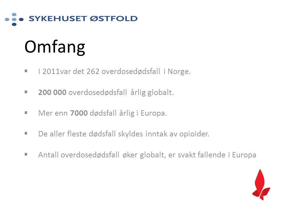 Omfang I 2011var det 262 overdosedødsfall i Norge.