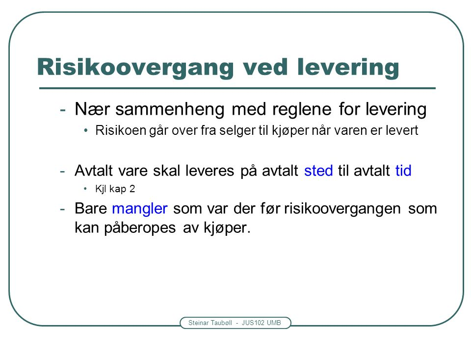 Risikoovergang ved levering