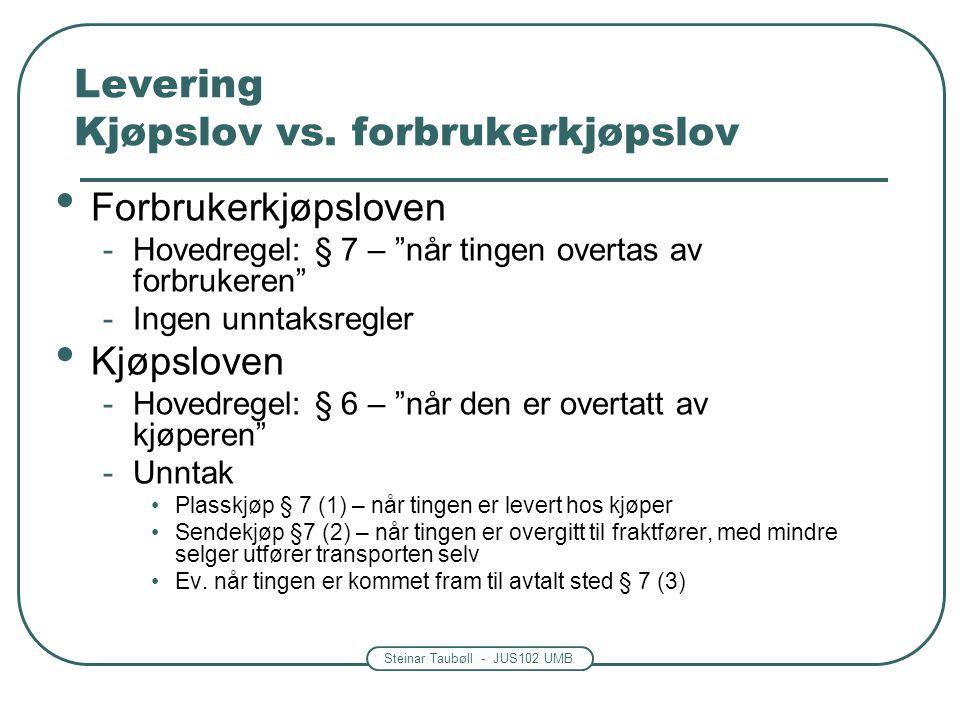 Levering Kjøpslov vs. forbrukerkjøpslov