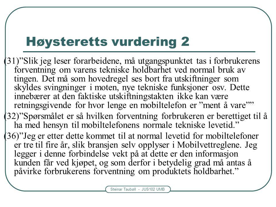 Høysteretts vurdering 2
