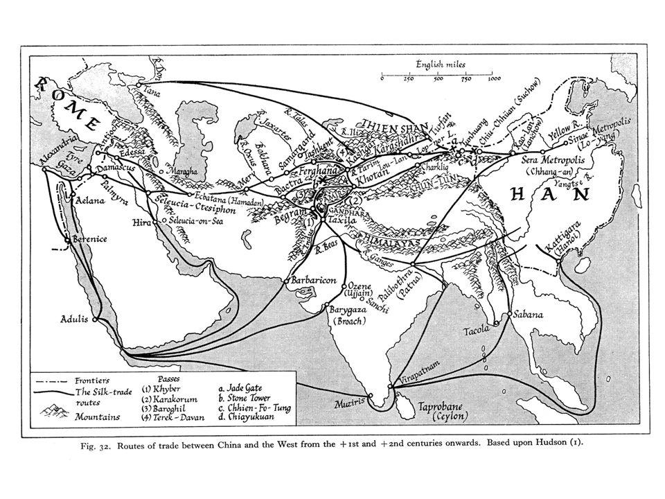 Kart over forbindelsene vestover