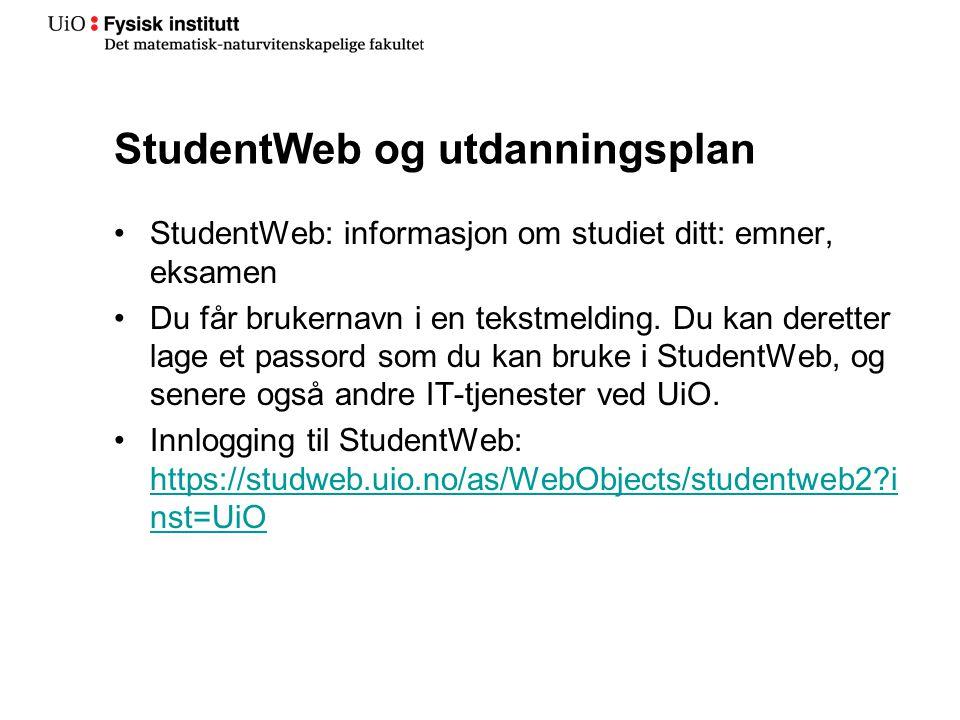 StudentWeb og utdanningsplan
