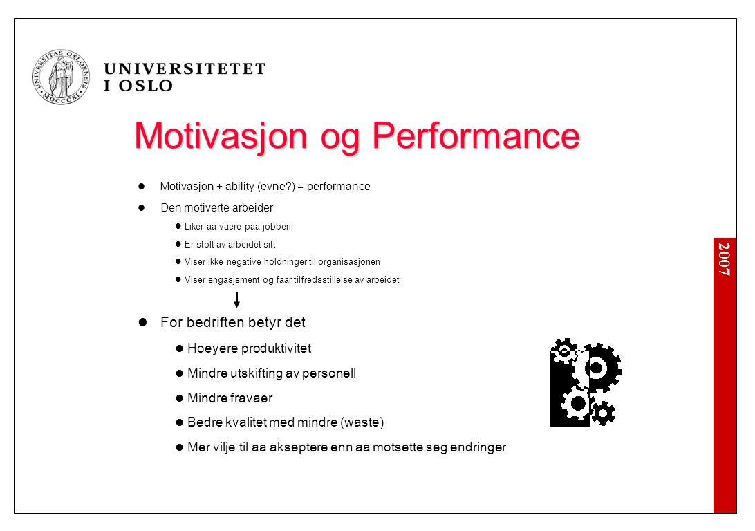 Motivasjon og 'Performance'