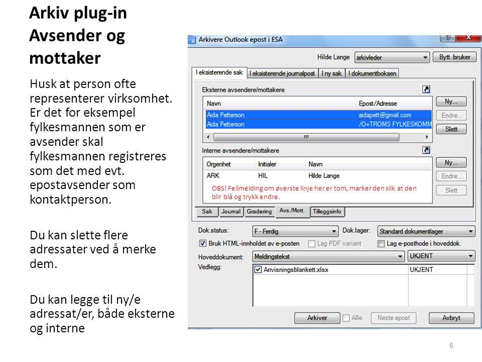 Arkiv plug-in Avsender og mottaker