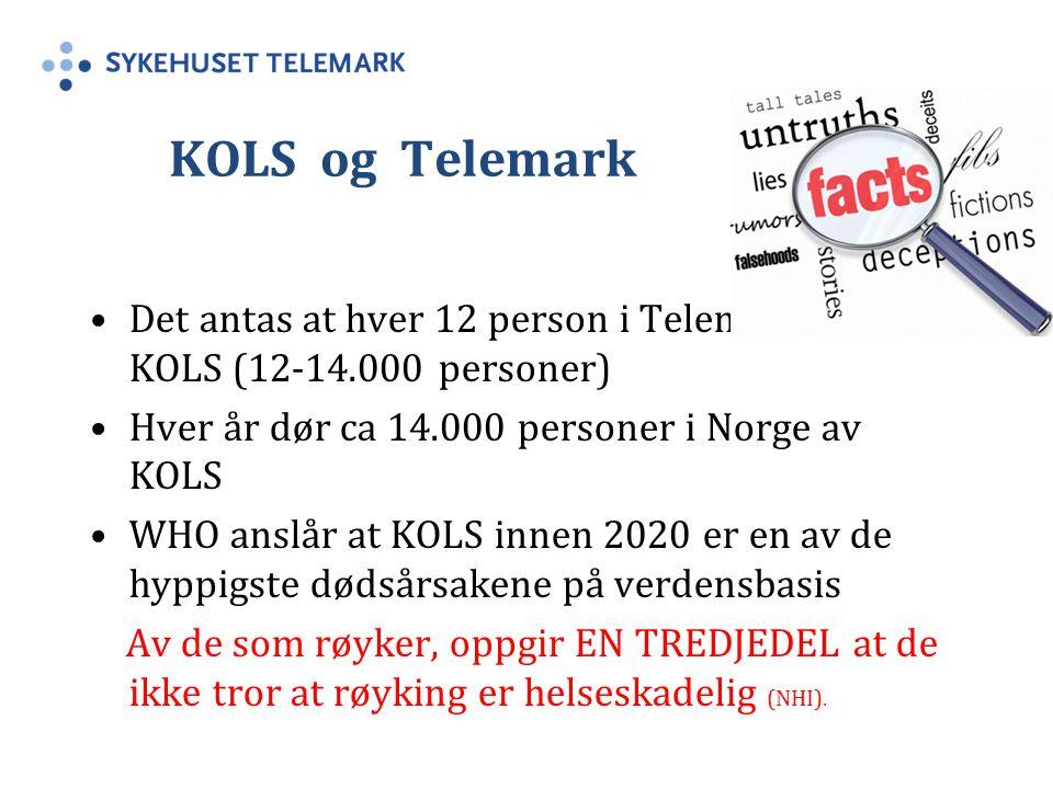 KOLS og Telemark Det antas at hver 12 person i Telemark har KOLS (12-14.000 personer) Hver år dør ca 14.000 personer i Norge av KOLS.