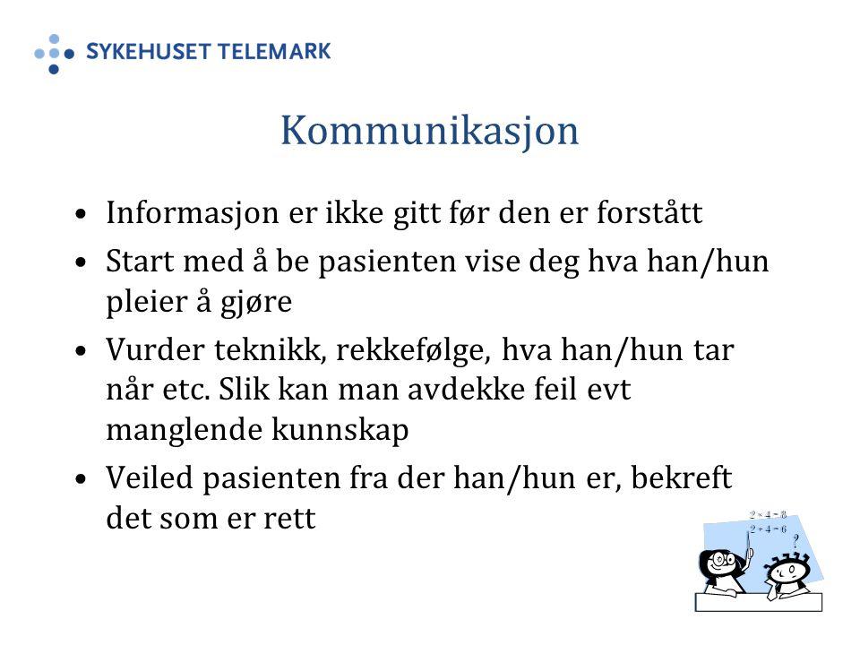 Kommunikasjon Informasjon er ikke gitt før den er forstått
