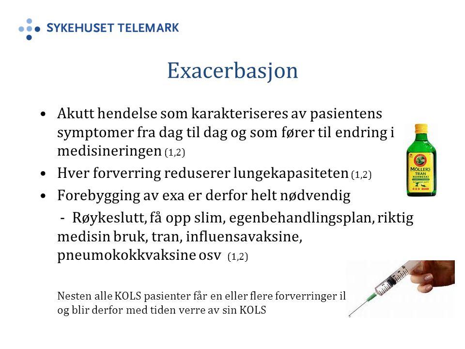Exacerbasjon Akutt hendelse som karakteriseres av pasientens symptomer fra dag til dag og som fører til endring i medisineringen (1,2)
