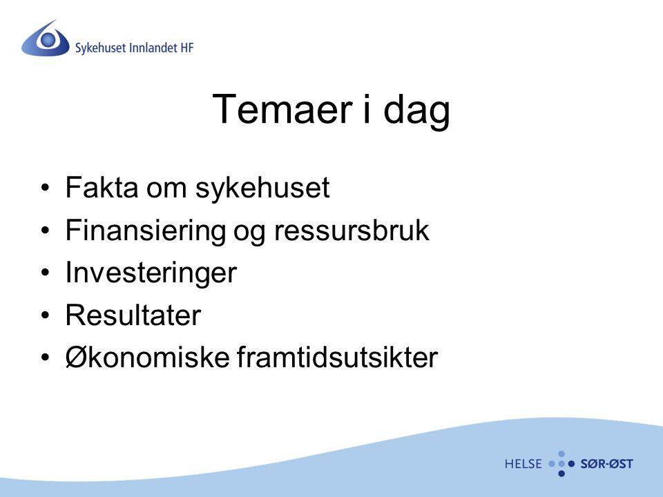 Temaer i dag Fakta om sykehuset Finansiering og ressursbruk