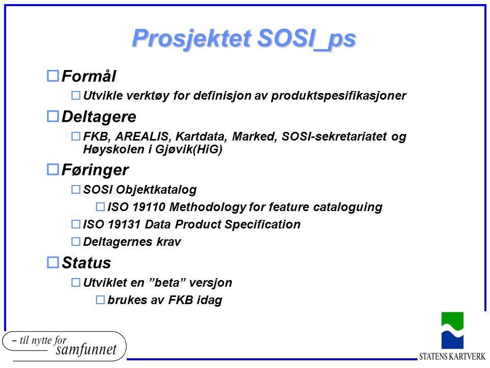 Prosjektet SOSI_ps Formål Deltagere Føringer Status