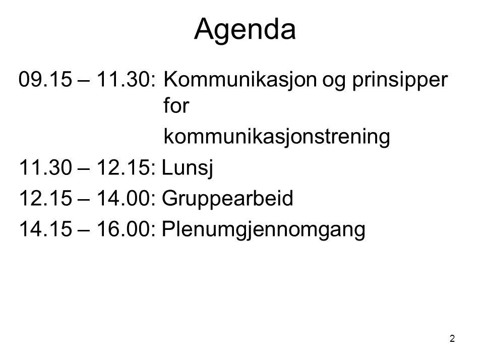 Agenda 09.15 – 11.30: Kommunikasjon og prinsipper for