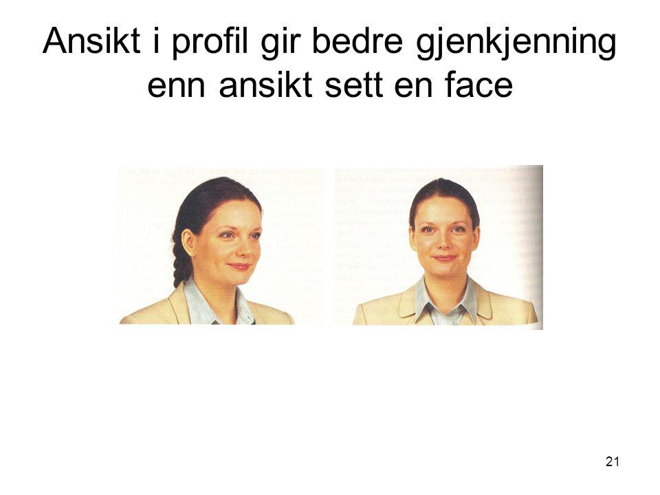 Ansikt i profil gir bedre gjenkjenning enn ansikt sett en face