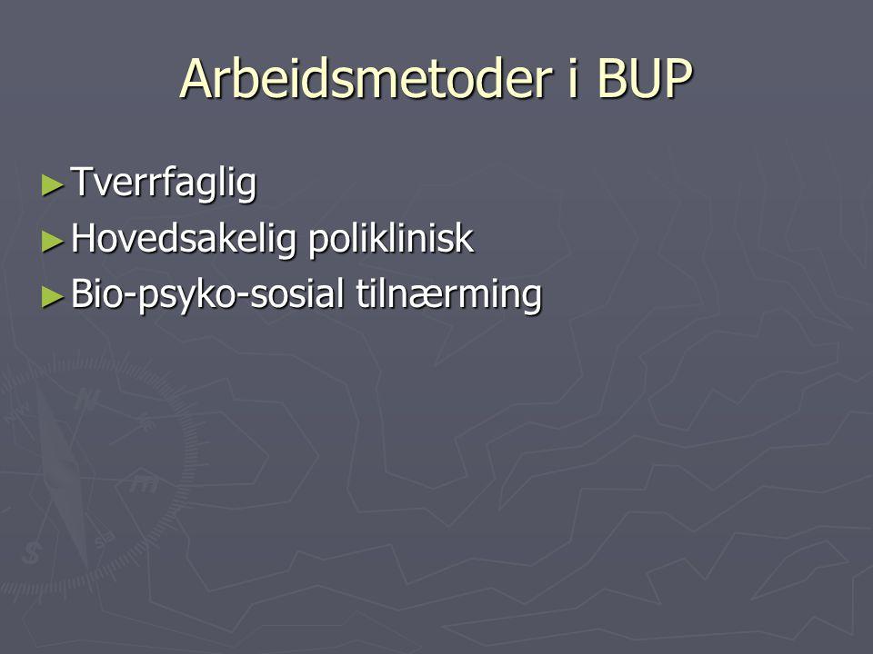 Arbeidsmetoder i BUP Tverrfaglig Hovedsakelig poliklinisk