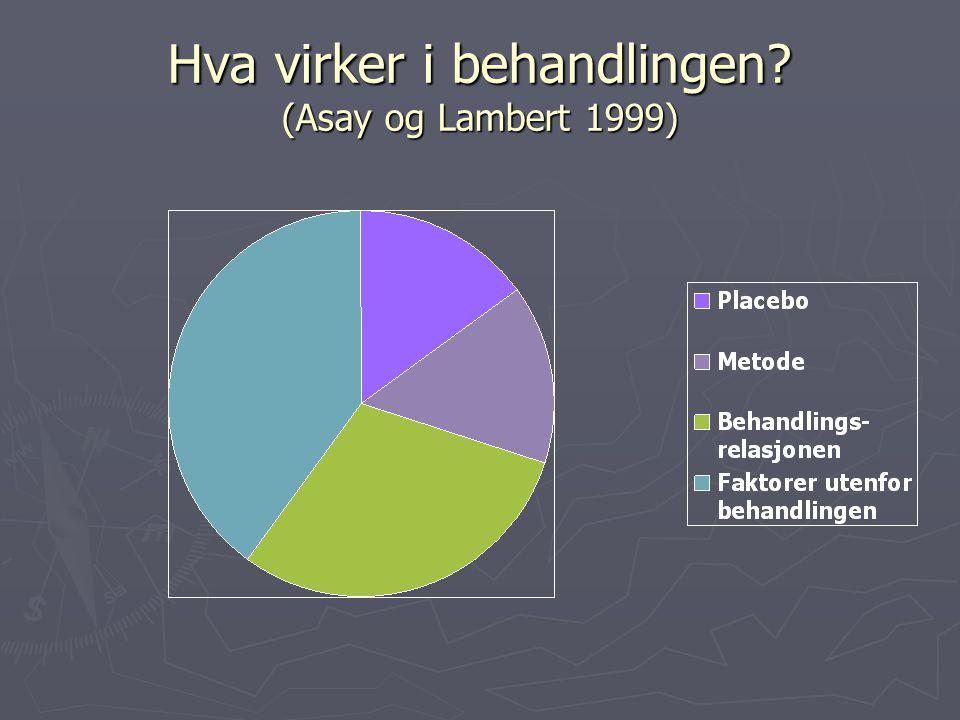 Hva virker i behandlingen (Asay og Lambert 1999)