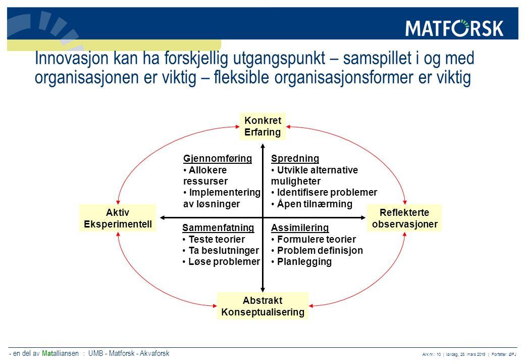 Innovasjon kan ha forskjellig utgangspunkt – samspillet i og med organisasjonen er viktig – fleksible organisasjonsformer er viktig