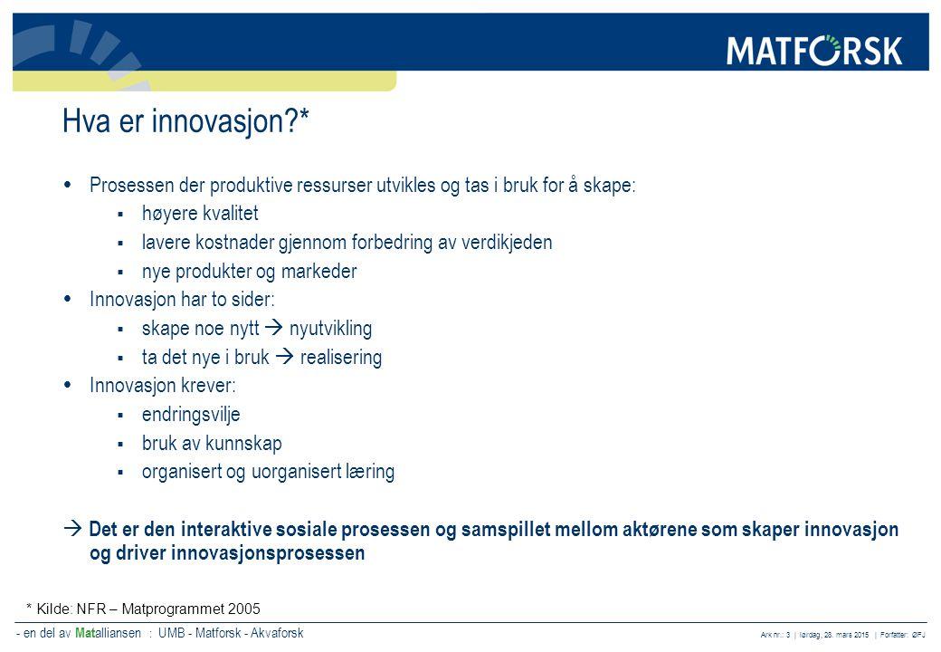 Hva er innovasjon * Prosessen der produktive ressurser utvikles og tas i bruk for å skape: høyere kvalitet.