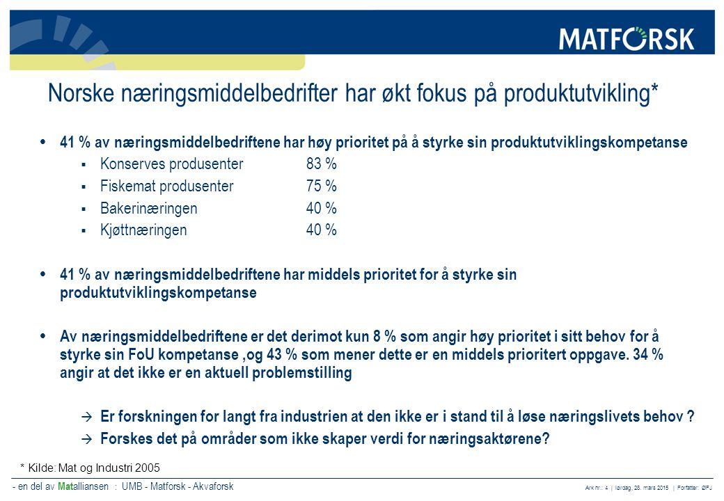 Norske næringsmiddelbedrifter har økt fokus på produktutvikling*