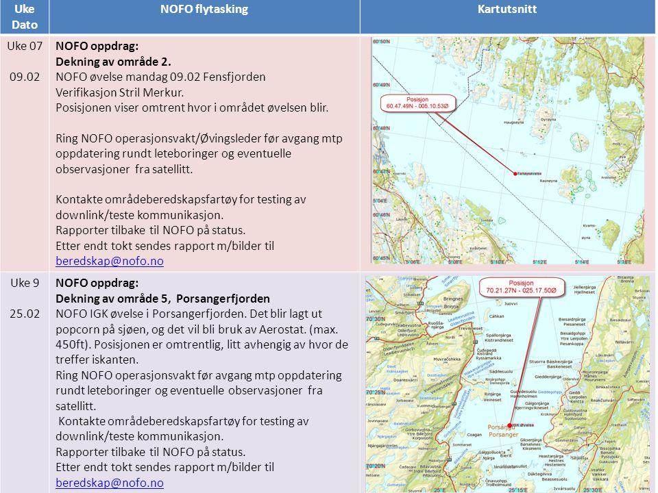 Uke Dato. NOFO flytasking. Kartutsnitt. Uke 07. 09.02. NOFO oppdrag: Dekning av område 2.