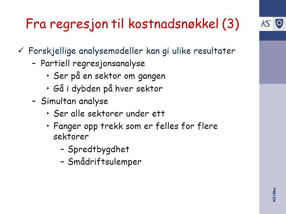 Fra regresjon til kostnadsnøkkel (3)