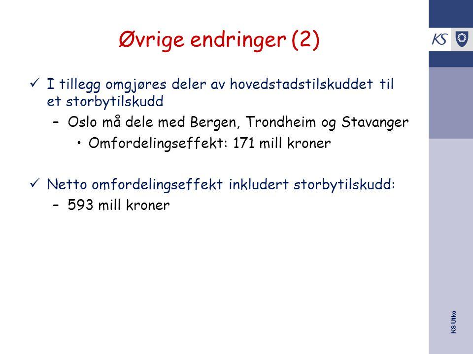 Øvrige endringer (2) I tillegg omgjøres deler av hovedstadstilskuddet til et storbytilskudd. Oslo må dele med Bergen, Trondheim og Stavanger.