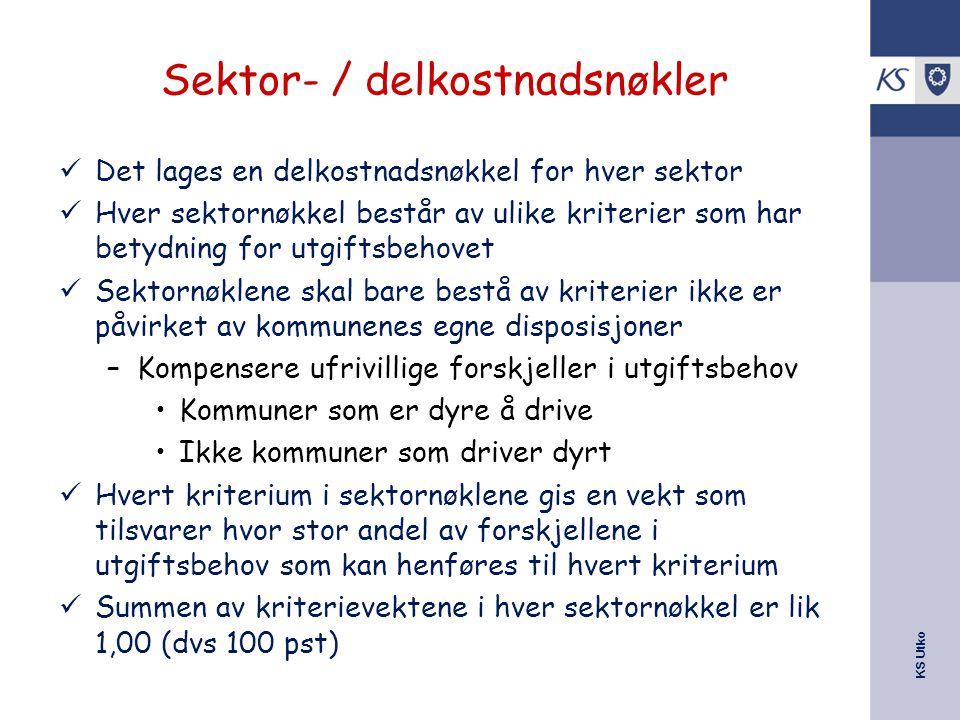 Sektor- / delkostnadsnøkler