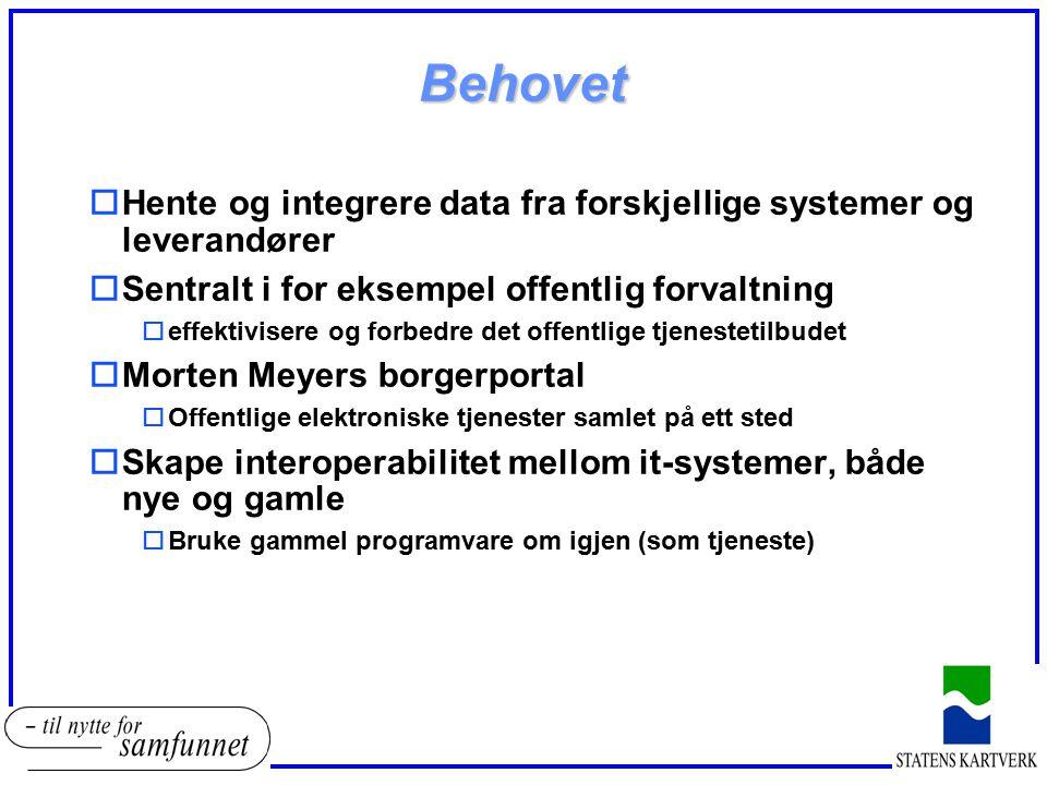 Behovet Hente og integrere data fra forskjellige systemer og leverandører. Sentralt i for eksempel offentlig forvaltning.