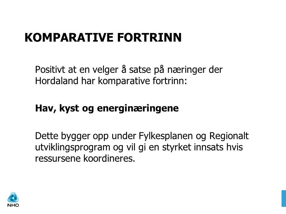 KOMPARATIVE FORTRINN Positivt at en velger å satse på næringer der Hordaland har komparative fortrinn: