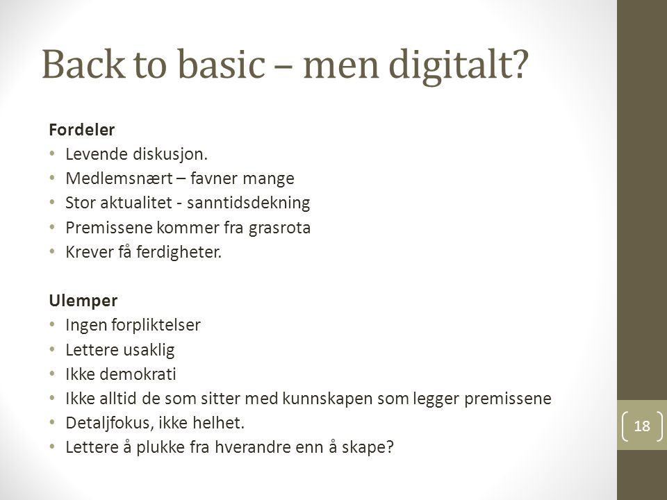 Back to basic – men digitalt