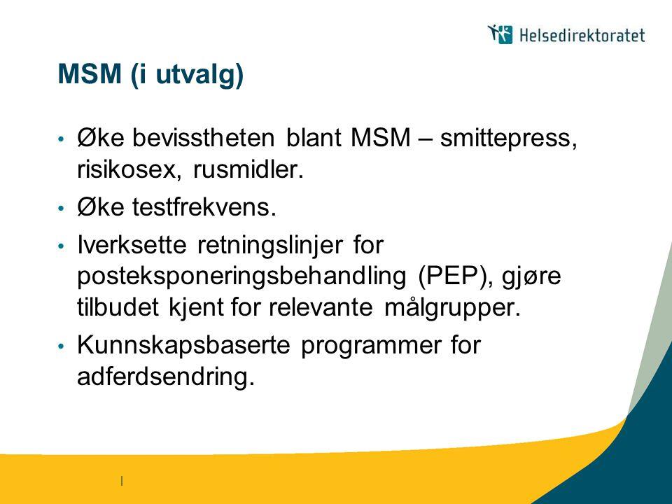 MSM (i utvalg) Øke bevisstheten blant MSM – smittepress, risikosex, rusmidler. Øke testfrekvens.