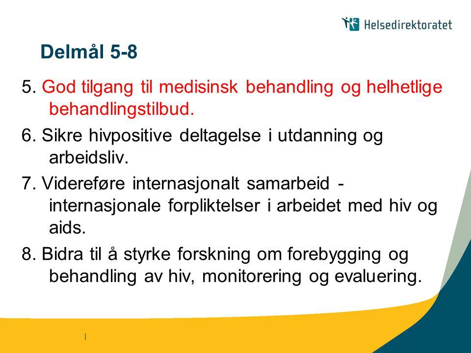Delmål 5-8 5. God tilgang til medisinsk behandling og helhetlige behandlingstilbud. 6. Sikre hivpositive deltagelse i utdanning og arbeidsliv.
