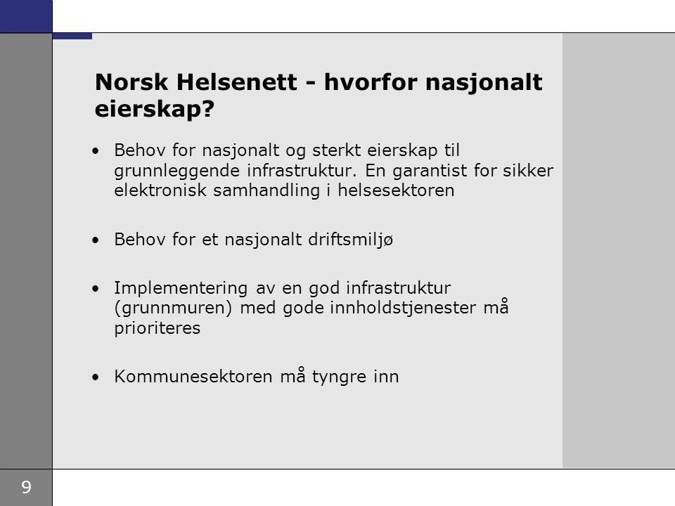 Norsk Helsenett - hvorfor nasjonalt eierskap