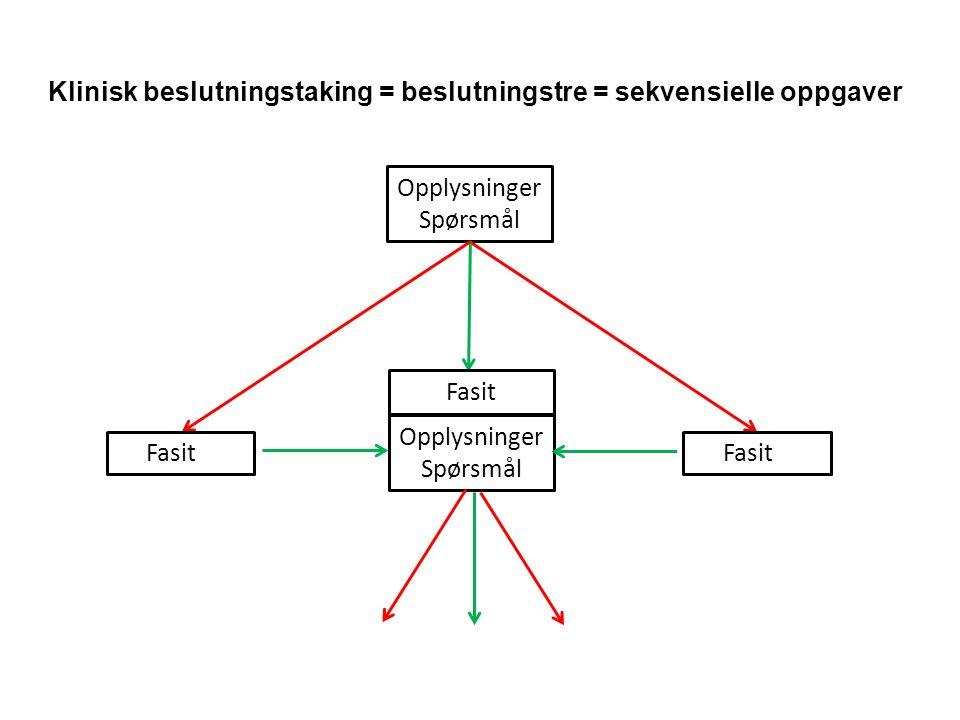 Klinisk beslutningstaking = beslutningstre = sekvensielle oppgaver