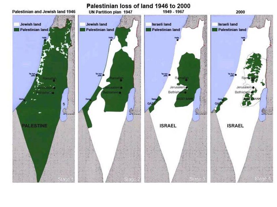 Palestinerne er nå delt i ulike geografiske områder. Det bor ca 1
