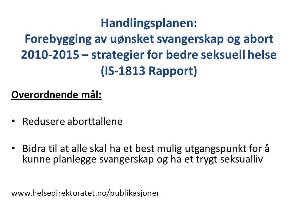Handlingsplanen: Forebygging av uønsket svangerskap og abort 2010-2015 – strategier for bedre seksuell helse (IS-1813 Rapport)