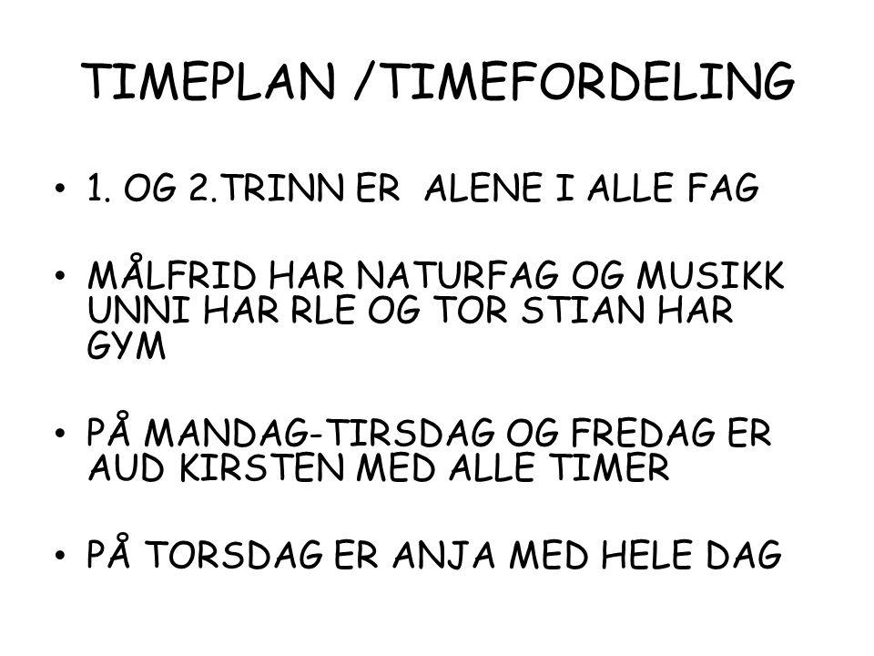 TIMEPLAN /TIMEFORDELING